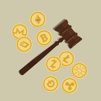visual bit coin crypto currency legal aspect regulation law wooden hammer gavel justice legal authority case verdict law suit