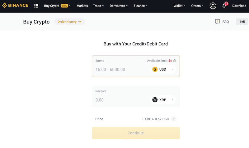 How can you buy XRP on Binance with credit and debit card