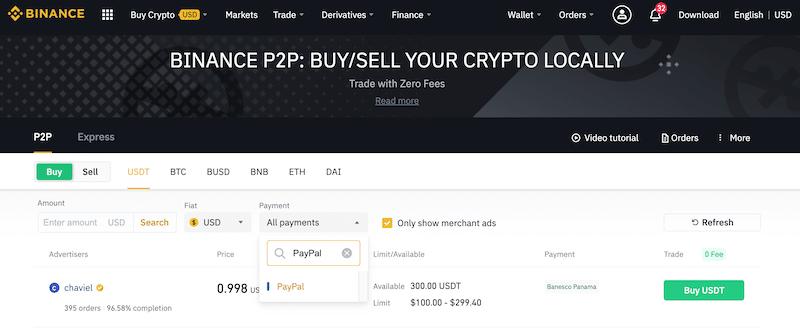 Binance P2P Buy Ripple PayPal XRP