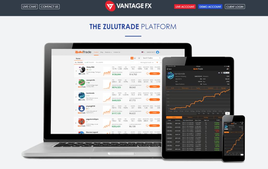 ZuluTrade Vantage FX copy trading platform