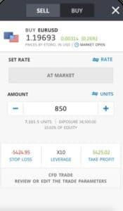 eToro Buy EUR USD Mobile App