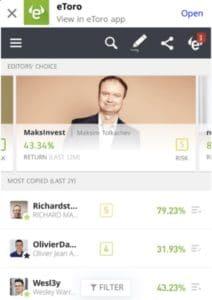 eToro Mobile App Social Trading