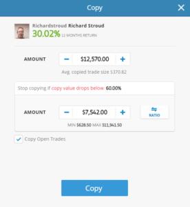 eToro copy trading window