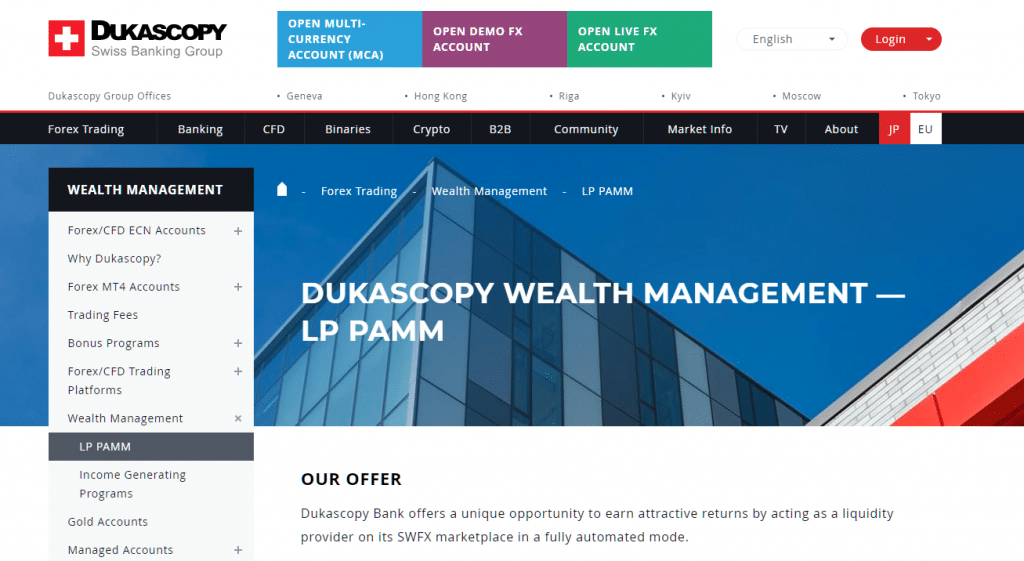 Dukascopy forex managed account