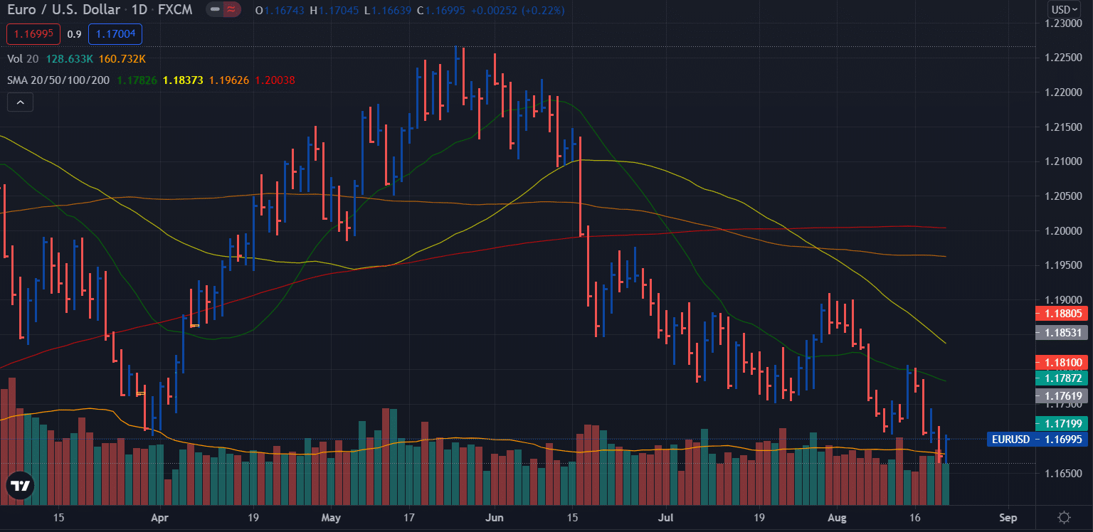 EUR/USD weekly forecast - daily chart